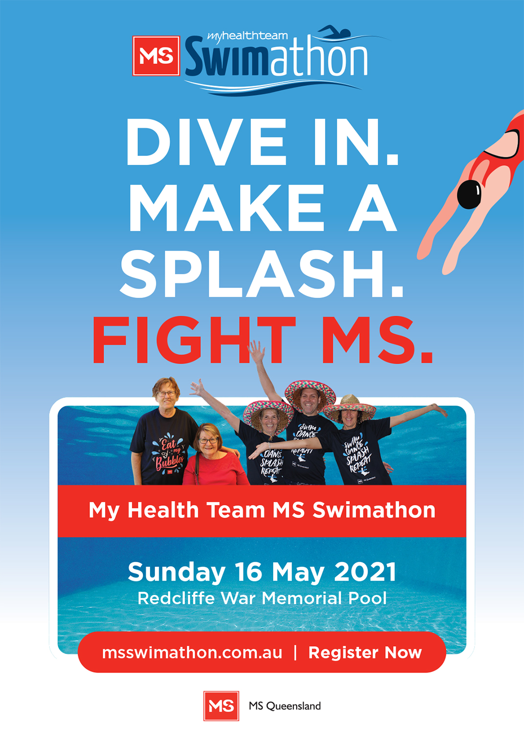 Event Poster- My Health Team MS Swimathon (Redcliffe)