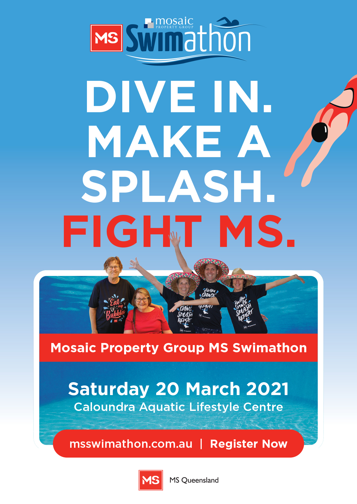 Event Poster- Mosaic Property Group MS Swimathon (Sunshine Coast)